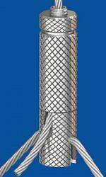 Drahtseilhalter Typ 25ZW  M6i m.R. Schlitz 3.0 mm;  mit Gewindestift  M6x8 für Y-Abhängungen