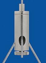Drahtseilhalter Typ 12  M8x1 A9 m. Koppelteil ZW M4ix4, Querbohrung 1,6mm mit Feststellschraube Für Y-Abhängungen