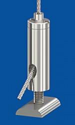 Drahtseilhalter Typ 15 ZW M4i, mit Gewindestift M4x14  verklebt und Nutstein M4i
