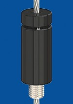 Drahtseilhalter Typ 30 SV  M8, mit Verriegelungsmutter schwarz