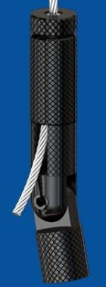 Drahtseilhalter Typ 30 SV ZW Gelenk M8i, schwarz  mit Verriegelungsmutter