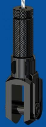 Drahtseilhalter Typ 30 SV m.R. , mit Verriegelungsmutter Gabel 10x20, schwarz