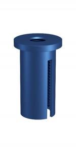 Deckenbefestiger M10x1, M6i, mit Schlitz, Alu blau eloxiert