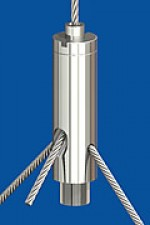 Y-Drahtseilhalter Typ 15 ZW  M5ix6 Q2,0mm o.R. mit hoher Feststellschraube M5
