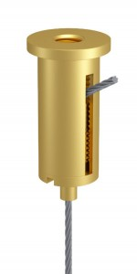 Combination of Ceiling Attachment M10x1 M6i with Slit and Holder Type 15 M10x6A, Aluminium gold anodised