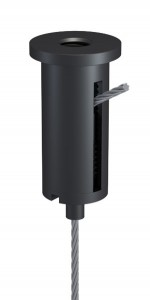 Combination of Ceiling Attachment M10x1 M6i with Slit and Holder Type 15 M10x6A, Aluminium black anodised