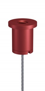 Combination of Ceiling Attachment M10x1 M6i short and Screw Cap M10x1 with Slit and Bore, Aluminium red anodised