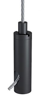 Drahtseilhalter Typ 18 ZW M6i, Alu schwarz eloxiert