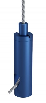 Drahtseilhalter Typ 18 ZW M6i, Alu blau eloxiert