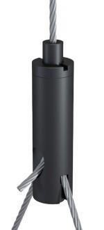 Y-Drahtseilhalter Typ 18 ZW M6i mit Schlitz 2,5mm und Gewindestift, Alu schwarz eloxiert