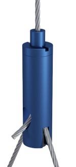 Y-Drahtseilhalter Typ 18 ZW M6i mit Schlitz 2,5mm und Gewindestift, Alu blau eloxiert